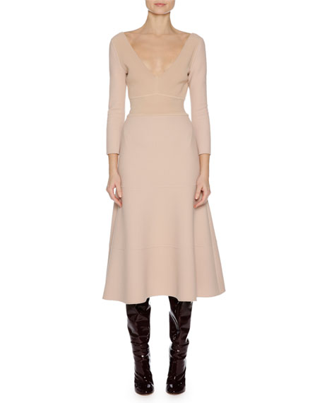 Agnona 3/4-Sleeve Stretch-Wool Dress, Nude
