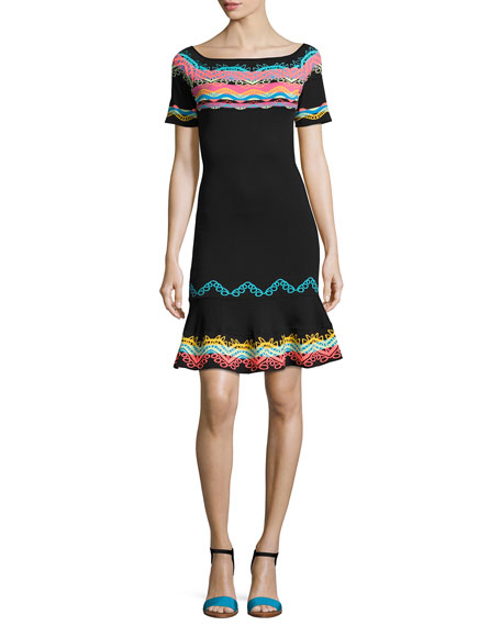 Geometric Intarsia Short-Sleeve Flounce Dress