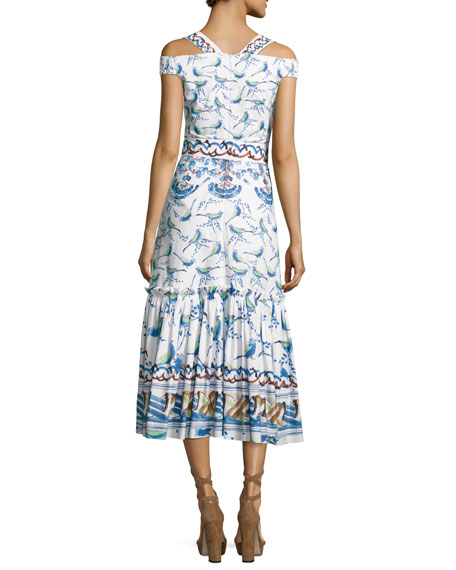 Bird & Floral Print Cold-Shoulder Midi Dress, Cotton