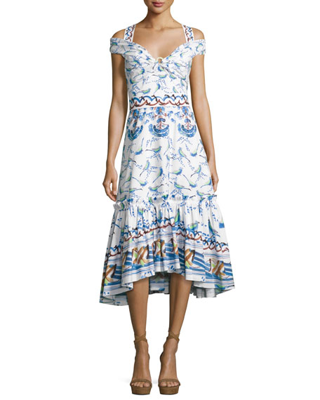 Peter Pilotto Bird & Floral Print Cold-Shoulder Midi