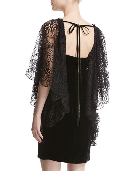 Lace Flutter-Sleeve Velvet Cocktail Dress, Black