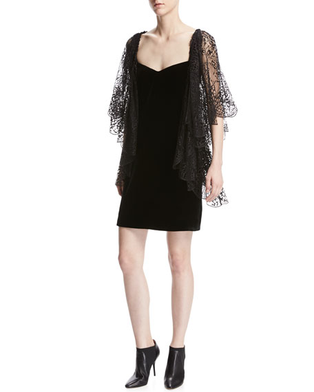 Roberto Cavalli Lace Flutter-Sleeve Velvet Cocktail Dress, Black