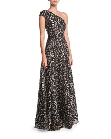 Hampstead One-Shoulder Floral Fil Coupé Evening Gown, Pink/Black