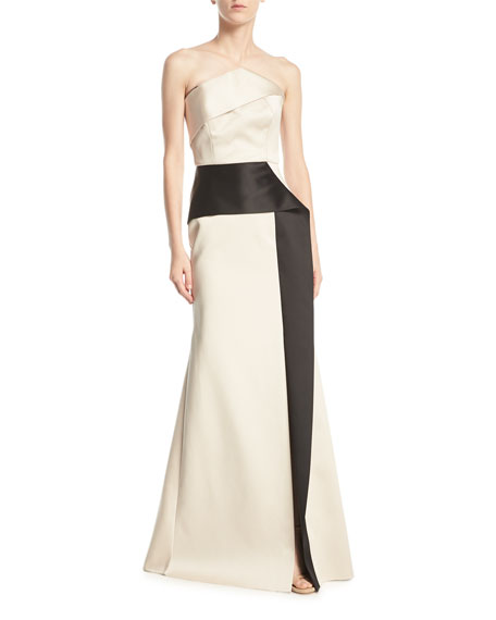 Roland Mouret Addover Strapless Two-Tone Peplum Evening Gown,