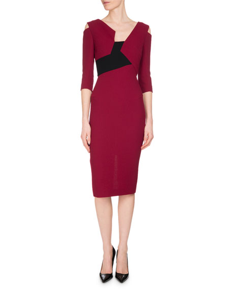 Roland Mouret Kiverton Colorblock Cold-Shoulder Sheath Dress