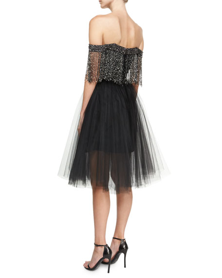 Off-the-Shoulder Metallic Fringe Cocktail Dress, Black