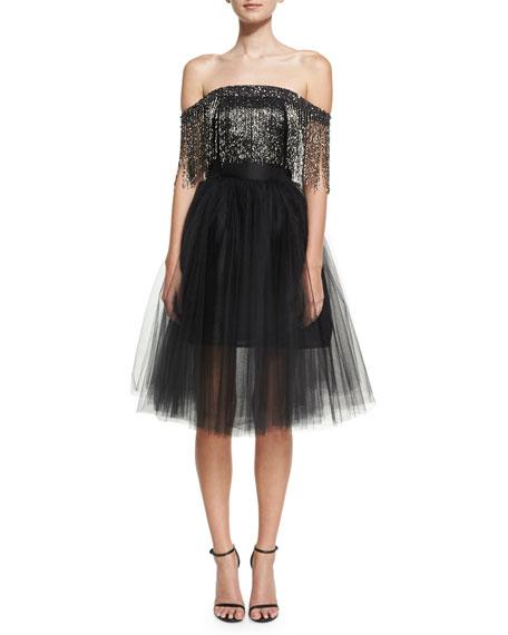 Off-the-Shoulder Metallic Fringe Cocktail Dress, Black