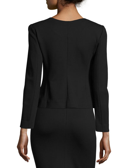 Milano Jersey Belted Zip-Front Jacket, Black