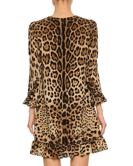 3/4-Sleeve Stretch-Cady Cocktail Dress, Leopard