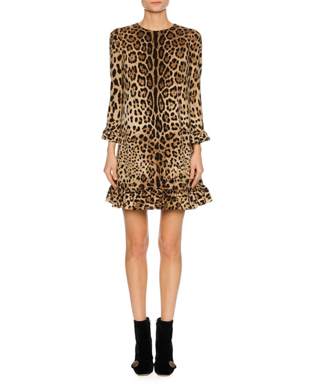 Dolce & Gabbana 3/4-Sleeve Stretch-Cady Cocktail Dress, Leopard