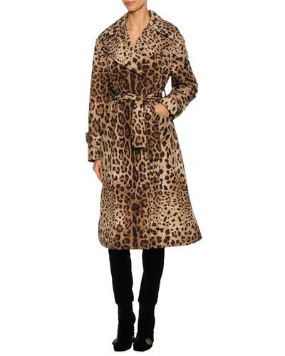 Leopard-Print Long Trench Coat