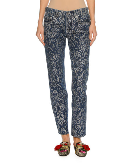Dolce & Gabbana Baroque Scroll-Print Denim Jeans, Blue/Silver