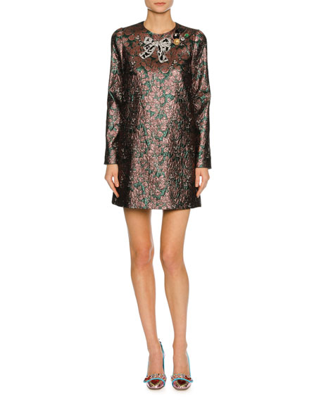 Long-Sleeve Metallic Jacquard Cocktail Dress, Pink/Green