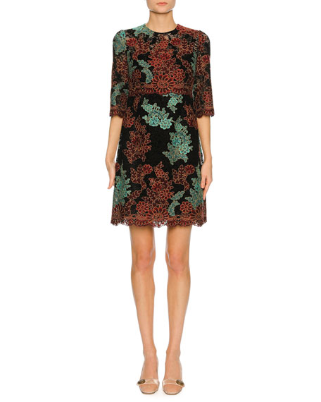 Dolce & Gabbana Lace-Embroidered 1/2-Sleeve Cocktail Dress