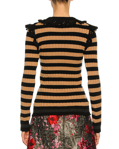 Striped Crochet-Trim Sweater, Black/Brown