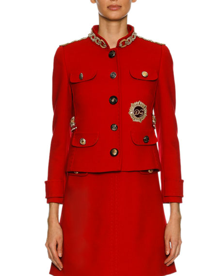 Dolce & Gabbana Chain-Embellished Wool Jacket, Red and