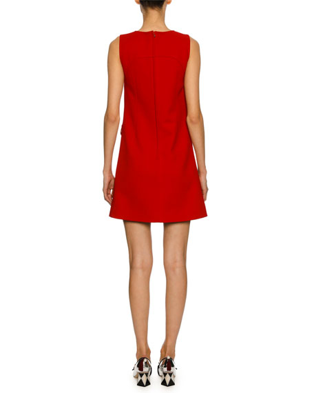 Sleeveless Virgin Wool Crepe Shift Dress with Crystal Bows, Red