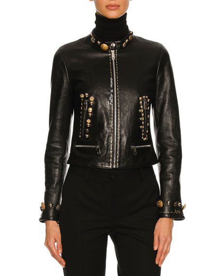 Button-Embellished Leather Café Racer Jacket, Black