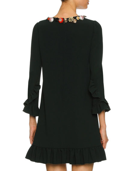 Button-Embellished 3/4-Sleeve Cady Cocktail Dress