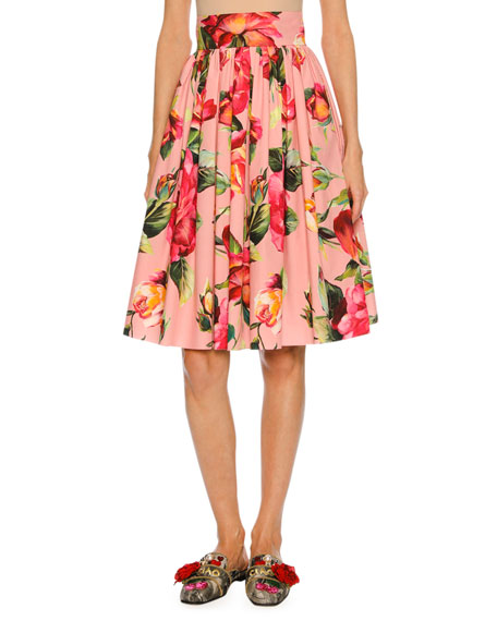 Dolce & Gabbana Floral-Print Full Cotton Skirt, Pink