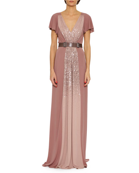 Bottega Veneta Sequined Jersey V-Neck Gown, Pink