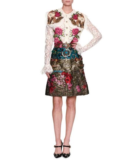 Floral Mixed Jacquard Miniskirt, Multicolor