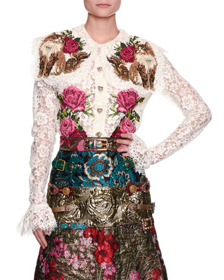 Dolce & Gabbana Rose & Cat Embroidered Lace