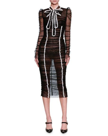 Long-Sleeve Frill-Trim Tulle Dress, Black