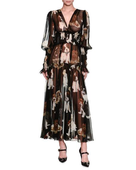 Dolce & Gabbana Dog-Print Smocked Chiffon Gown, Black