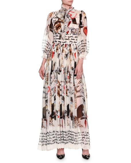 Cat-Print Tie-Neck Chiffon Gown, White
