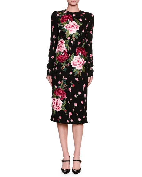 Dolce & Gabbana Long-Sleeve Rose-Embroidered Charmeuse Sheath
