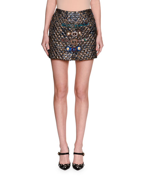 Dolce & Gabbana Matelassé Jacquard Miniskirt with Belts,