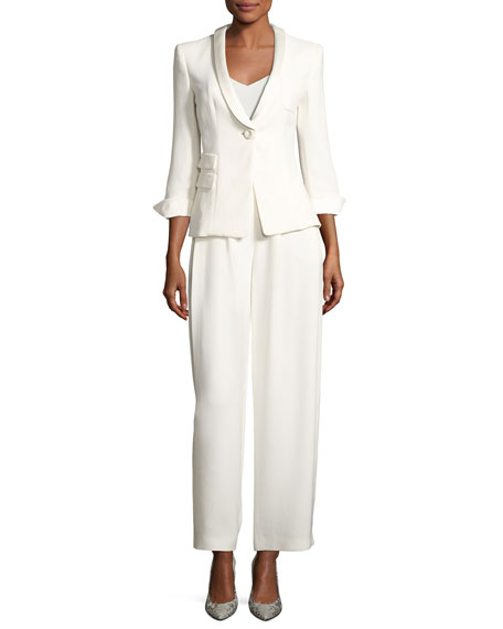 Giorgio Armani Classic Two-Piece Evening Pantsuit, White and