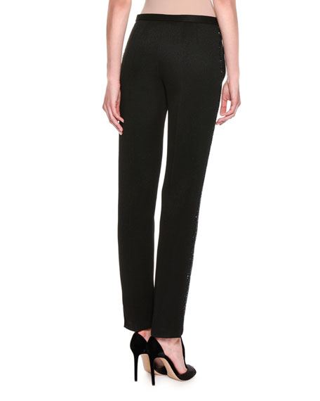 Embellished Slim-Straight Pants, Black