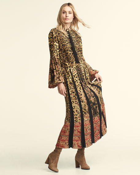 Leopard & Paisley Long-Sleeve Gown