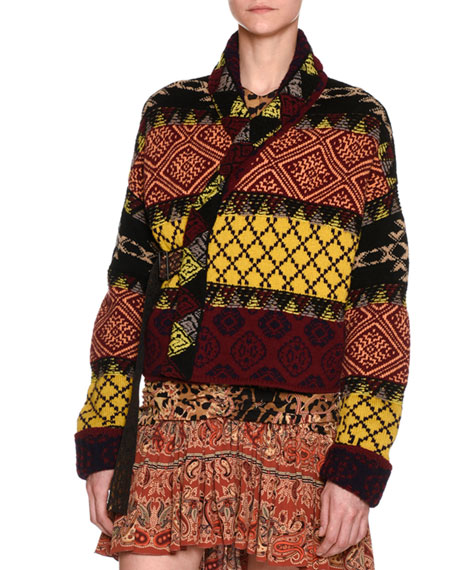 Etro Mixed-Print Belted Wrap-Front Jacket, Green