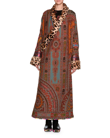 Etro Printed Robe Coat with Fur Lapel &