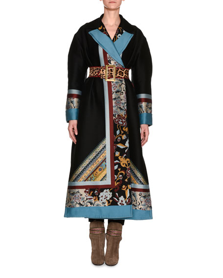 Etro Mixed-Print Full-Length Coat, Black and Matching Items