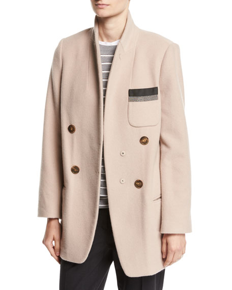 Brunello Cucinelli Double-Breasted Cashmere Mid-Length Jacket,