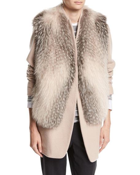 Fox Fur Vest with Grosgrain Belt