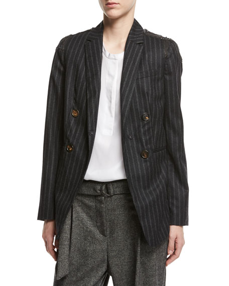 Brunello Cucinelli Regimental-Stripe Double-Breasted Jacket with