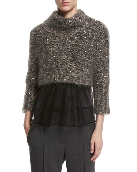 Brunello Cucinelli Paillette-Embellished Cropped Mock-Neck