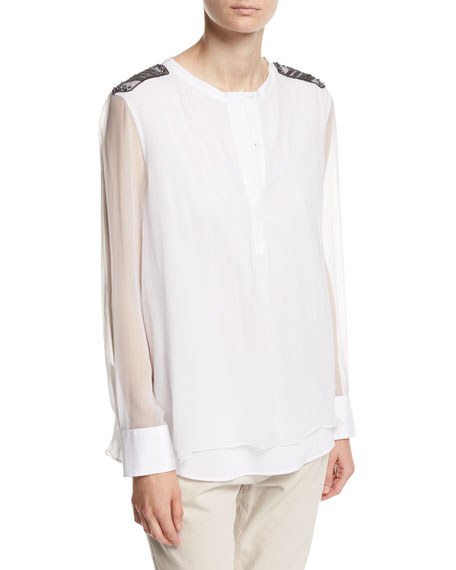Brunello Cucinelli Long-Sleeve Silk Organza Henley with Monili