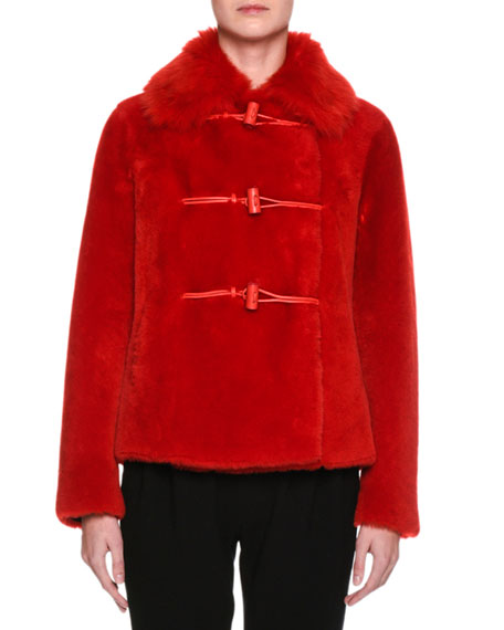 Lamb Shearling Fur Toggle Coat