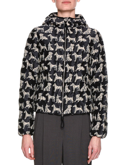Quilted Dog Jacquard Hooded Jacket, Neutral/Black