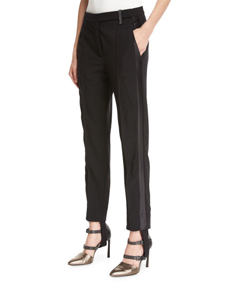 Brunello Cucinelli Stretch-Wool Stirrup Pants with Tuxedo Stripe,