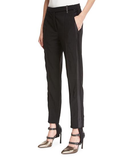 Brunello Cucinelli Stretch-Wool Stirrup Pants with Tuxedo Stripe,