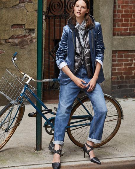 Velvet Shawl-Collar Blazer with Monili Chains, Blue