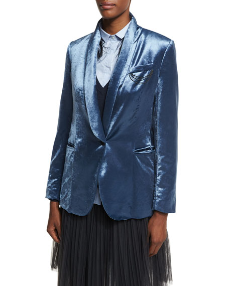 Brunello Cucinelli Velvet Shawl-Collar Blazer with Monili Chains,