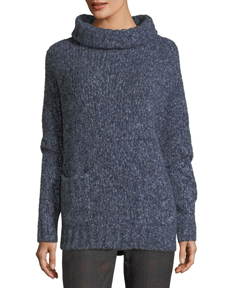 Brunello Cucinelli Paillette-Embellished Batwing Tunic Sweater, Blue